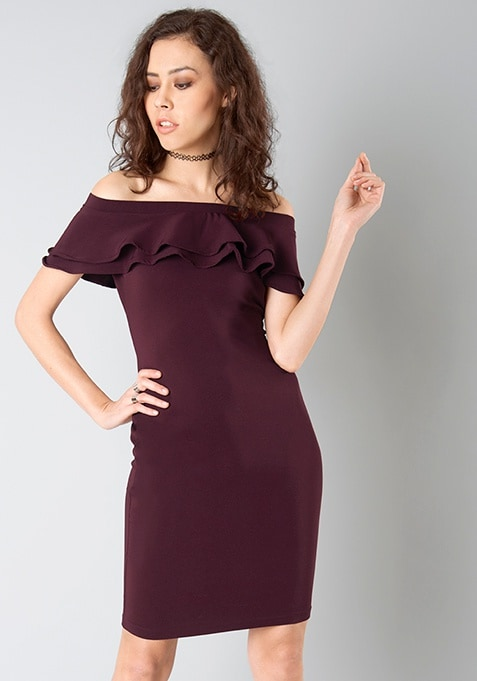 Ruffled Off Shoulder Midi Dress - Wine