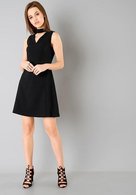 Choker A-Line Dress - Black