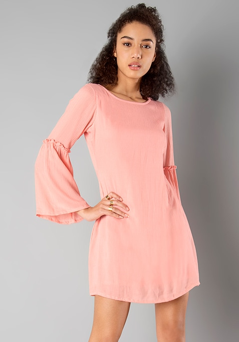Flared Bell Sleeves Dress - Peach