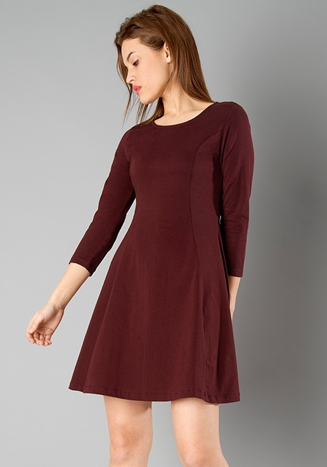 BASICS Skater Dress - Oxblood