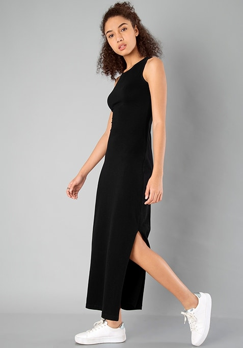 BASICS Side Slit Maxi Dress - Black
