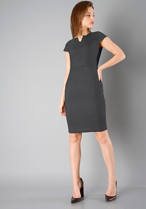CLASSICS Formal Sheath Dress - Grey