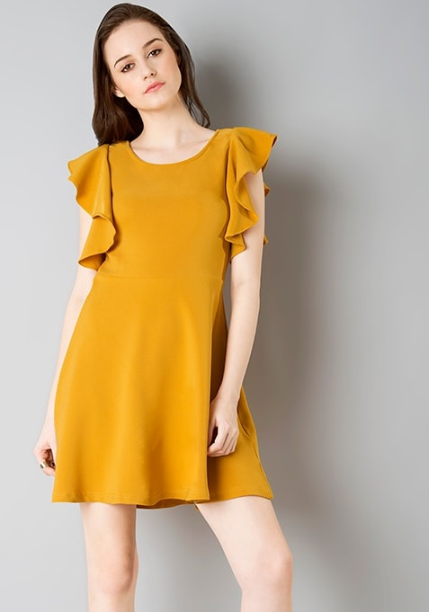 Ruffle Sleeve Skater Dress - Mustard