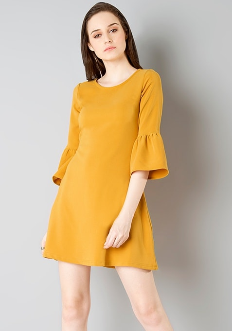 Bell Sleeve Skater Dress - Mustard