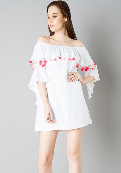 deefb41b423 Buy Women Pom Pom Off Shoulder Shift Dress - White - Sale Dresses ...