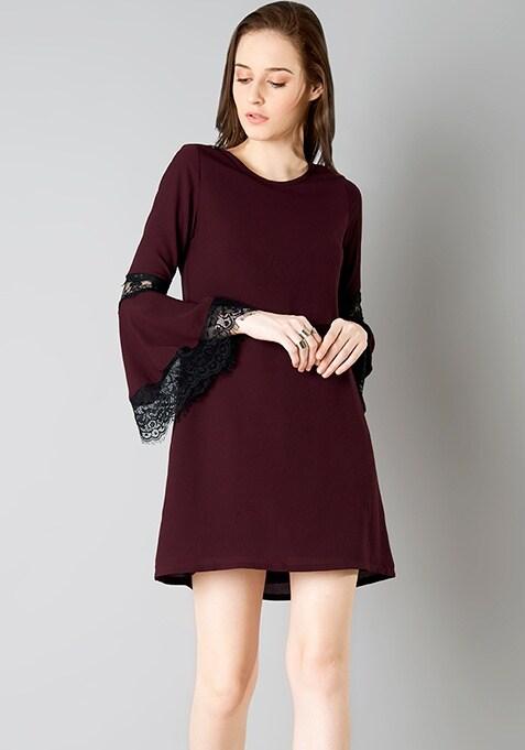 Lace Bell Sleeve Dress - Oxblood