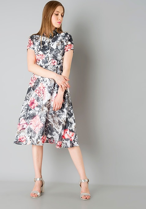 Shirt Midi Dress - Grey Floral