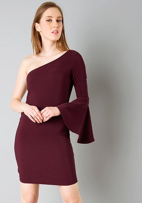 One Shoulder Bodycon Dress - Wine