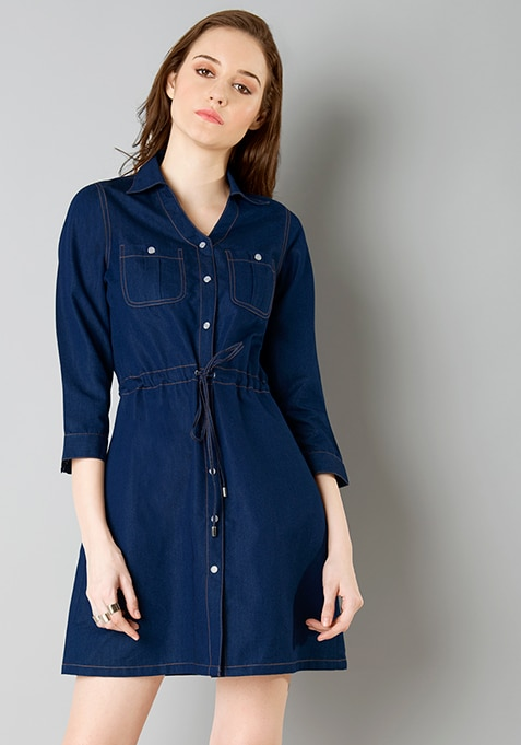 Belted Denim Shirt Dress - Dark Wash
