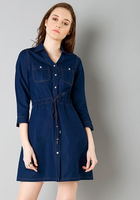 Belted Denim Shirt Dress - Dark Wash