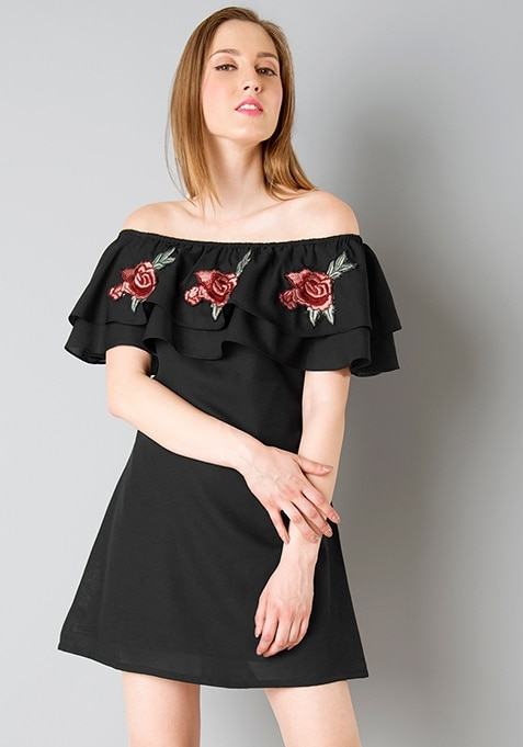 Embroidered Off Shoulder Dress - Black