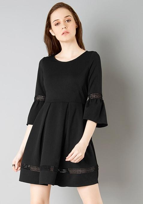 Lace Insert Bell Sleeve Skater Dress - Black