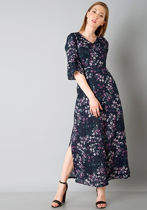 Sassy Bell Sleeve Maxi Dress - Navy Floral
