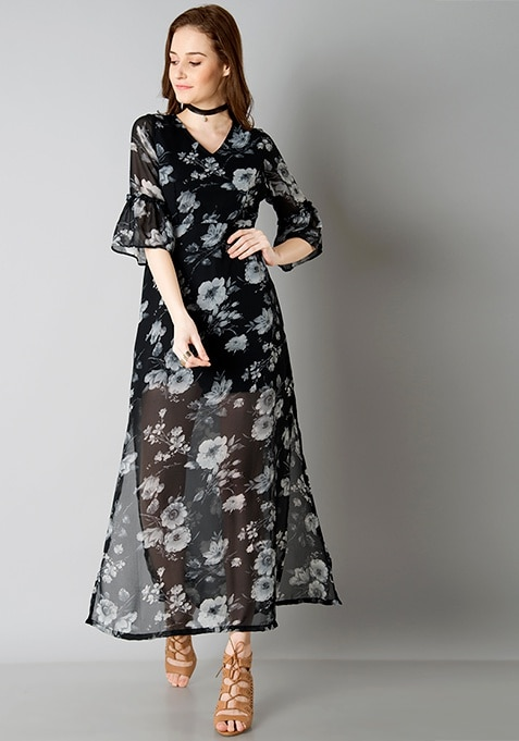Sassy Bell Sleeve Maxi Dress - Black Floral
