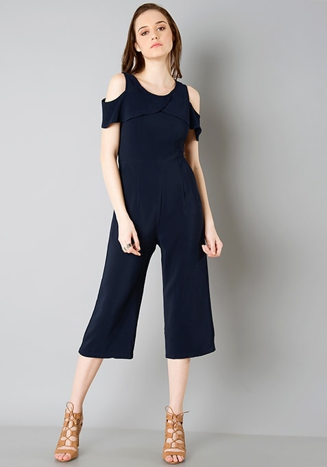 Cold Shoulder Jumpsuit - Navy