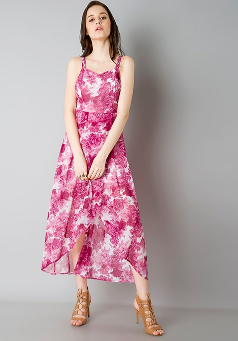 High Low Strappy Maxi Dress - Pink Floral