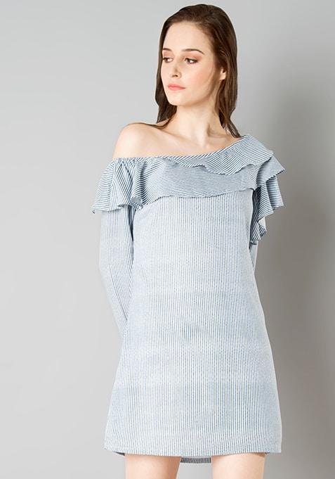 One Shoulder Ruffle Dress - Blue Stripes