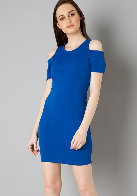 Cold Shoulder Bodycon Dress - Blue