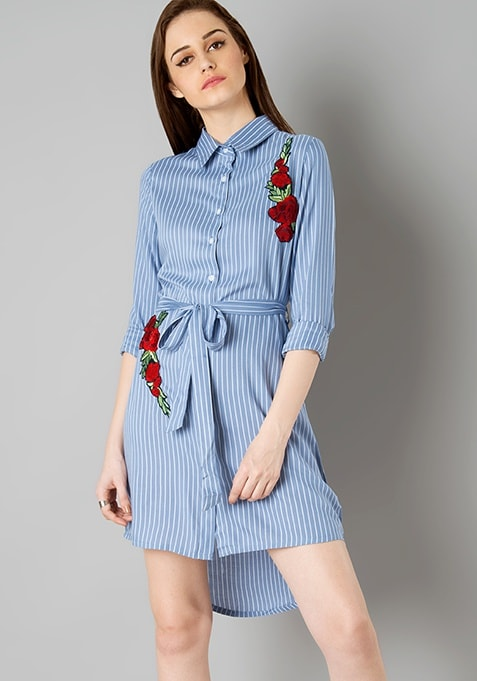 ce58066790e98 Buy Women Embroidered Shirt Dress - Blue Stripes - Dresses Online ...