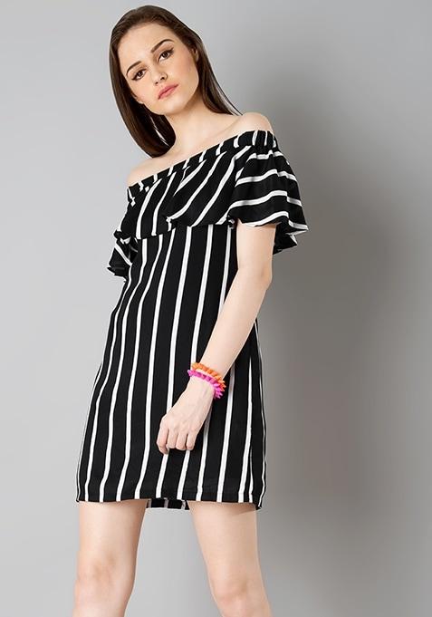 Ruffled Off Shoulder Dress - Black Stripes