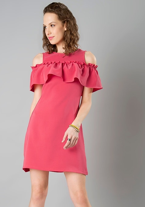 Front Ruffle Cold Shoulder Dress - Coral