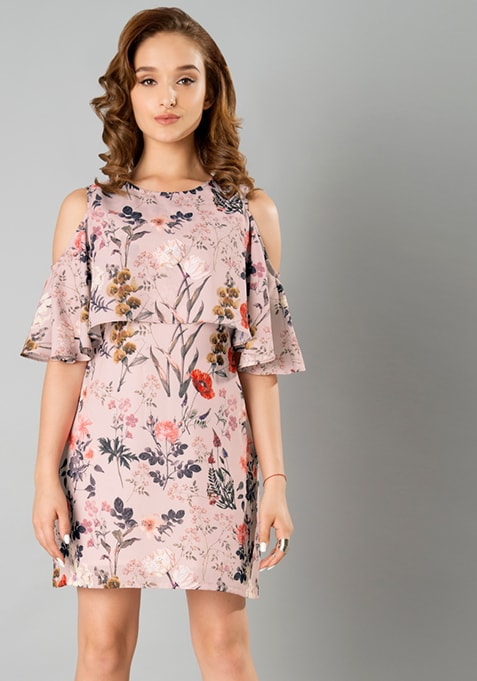 Blush Floral Cold Shoulder Dress