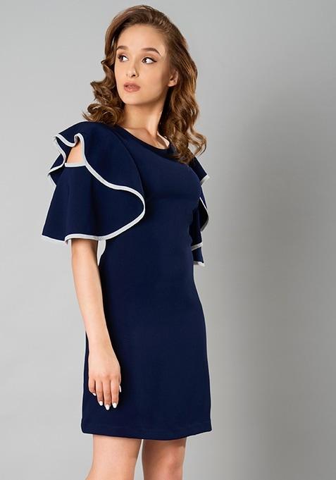 Ruffle Cascade Dress - Navy