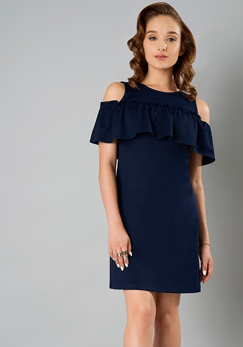 Front Ruffle Cold Shoulder Dress - Navy