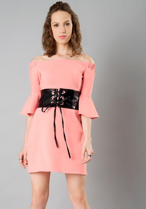 Bardot Bell Sleeve Corset Dress - Blush