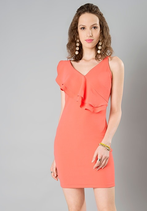 Ruffled Bodycon Dress - Coral
