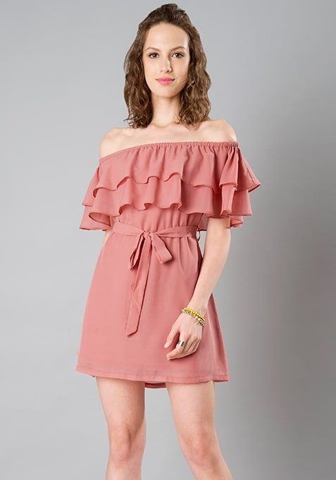 Belted Ruffled Bardot Dress - Dusty Pink