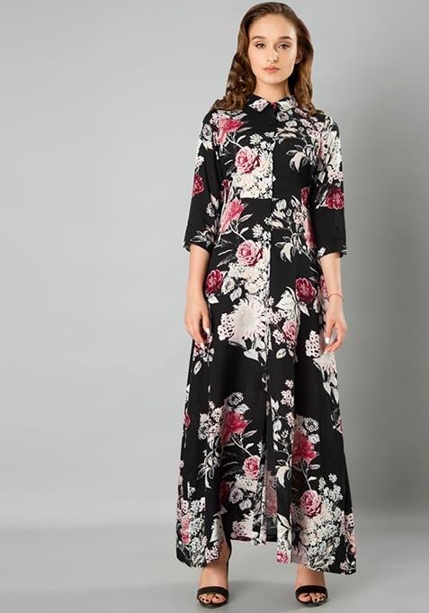 Shirt Maxi Dress - Dark Floral