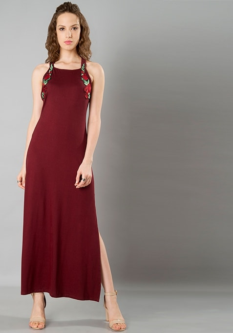 Embroidered Strappy Maxi Dress - Oxblood