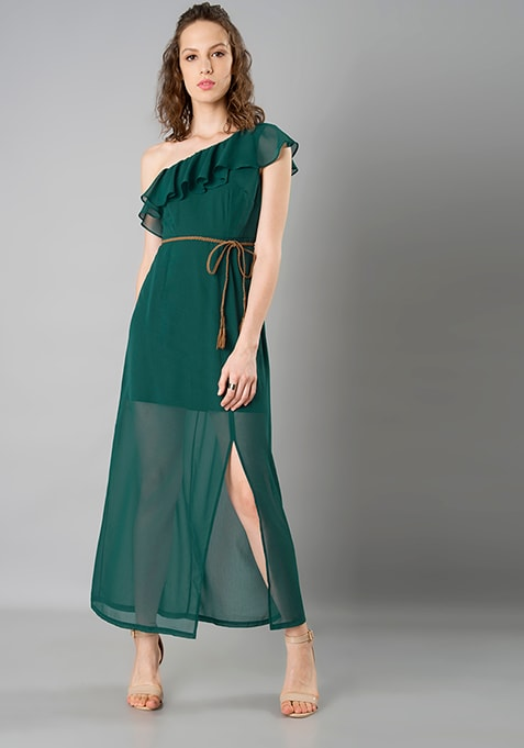 Ruffled One Shoulder Maxi Dress - Green