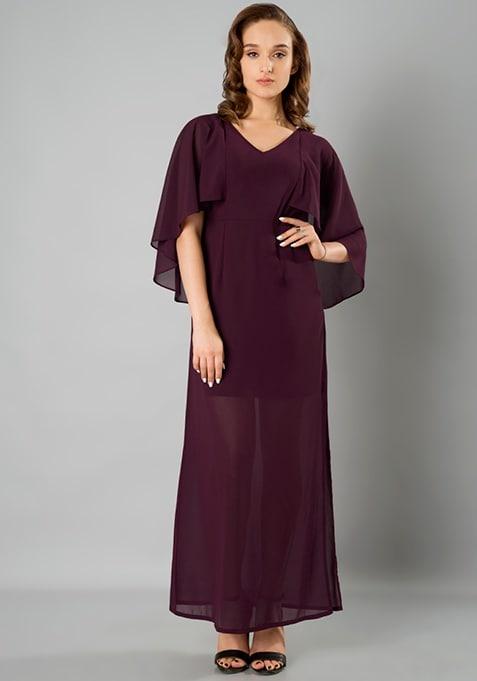 Cape Maxi Dress - Wine