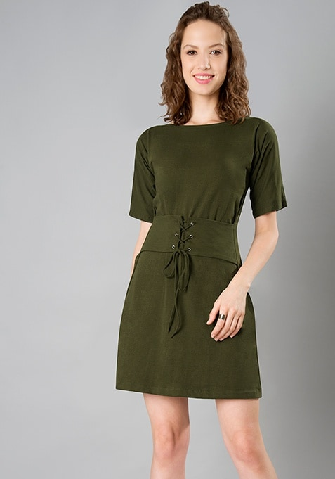 Corset T-Shirt Dress - Olive
