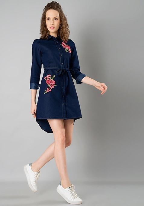 Denim Badge Shirt Dress - Dark Wash