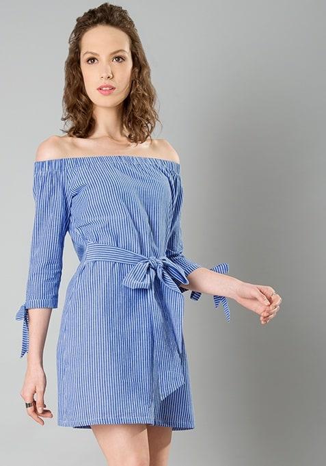 Bow Waist Bardot Dress - Stripes