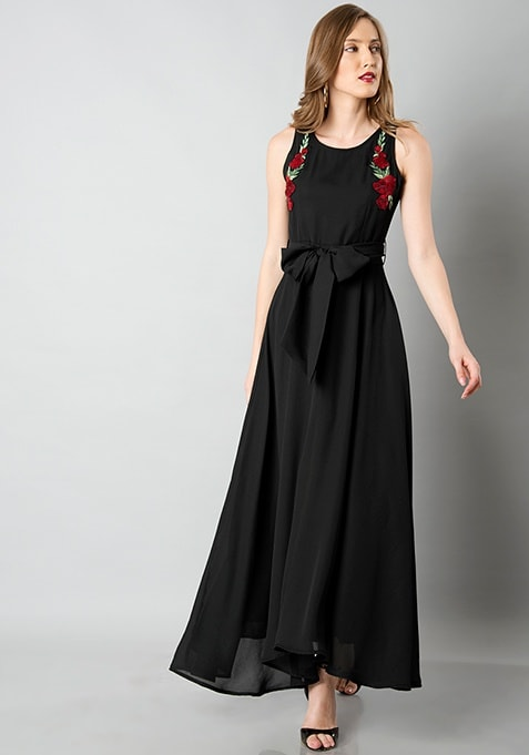 Belted Embroidered Maxi Dress - Black