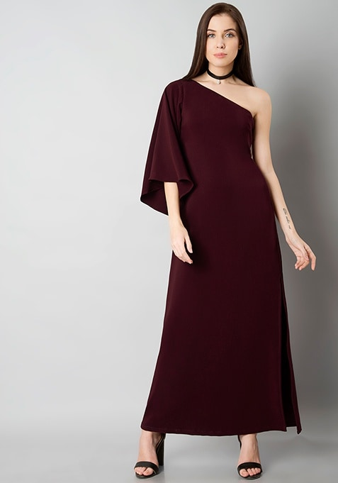 One Shoulder Maxi Dress - Wine
