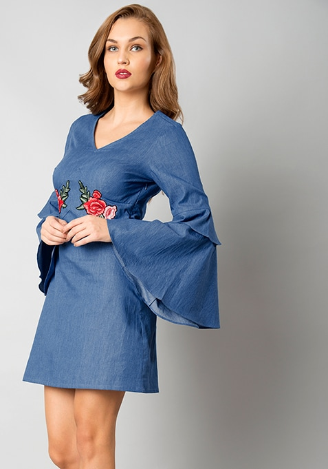 Buy Women Embroidered Bell Sleeve Dress Denim A Line