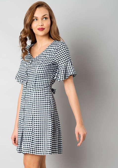 Flared Sleeve Shirt Dress - Gingham