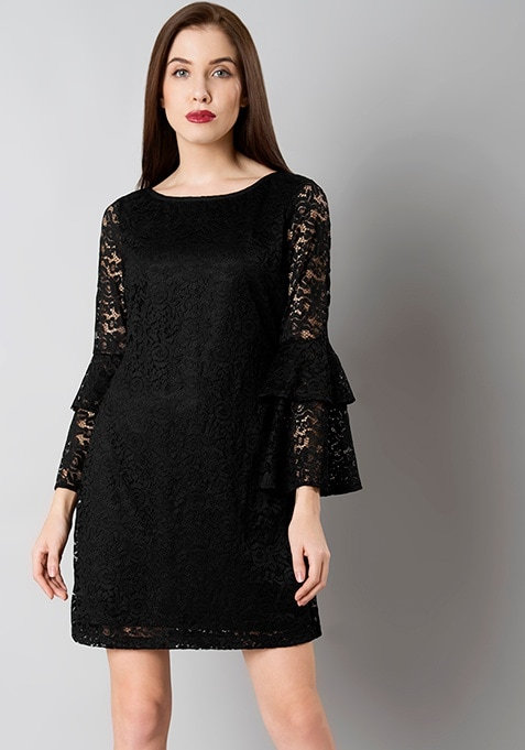 Black Layered Bell Sleeve Lace Dress
