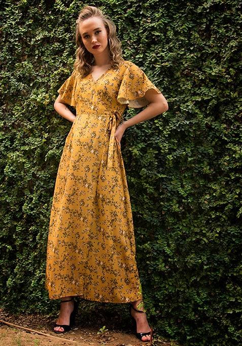 Mustard Floral Wrap Maxi Dress
