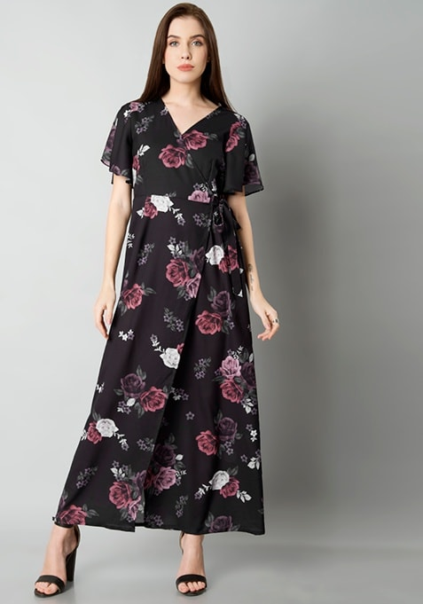 Black Floral Wrap Maxi Dress