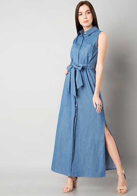 Denim Belted Shirt Maxi Dress - Light