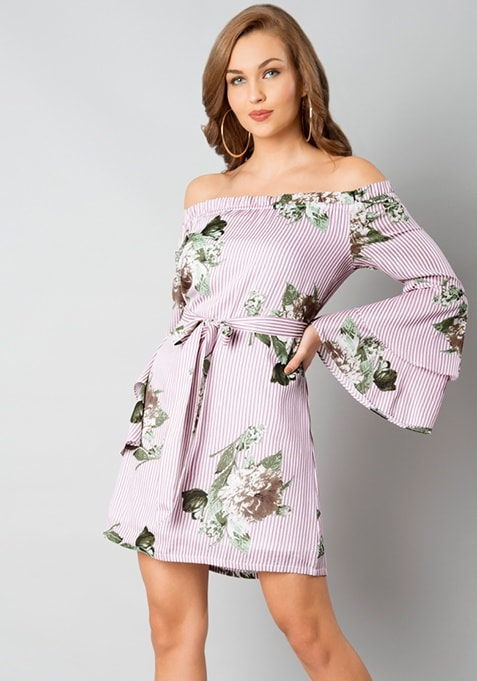 Pink Striped Belted Off Shoulder Dress