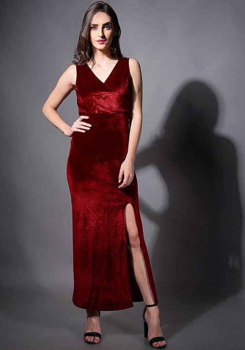 Maroon Velvet Wrap Maxi Dress