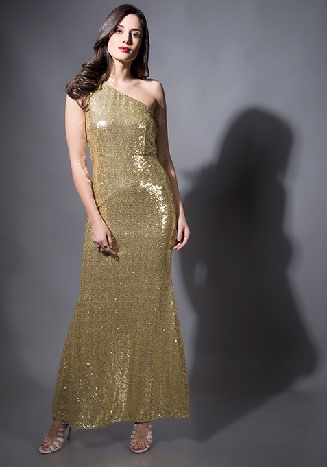Champagne Sequin Mermaid Maxi Dress