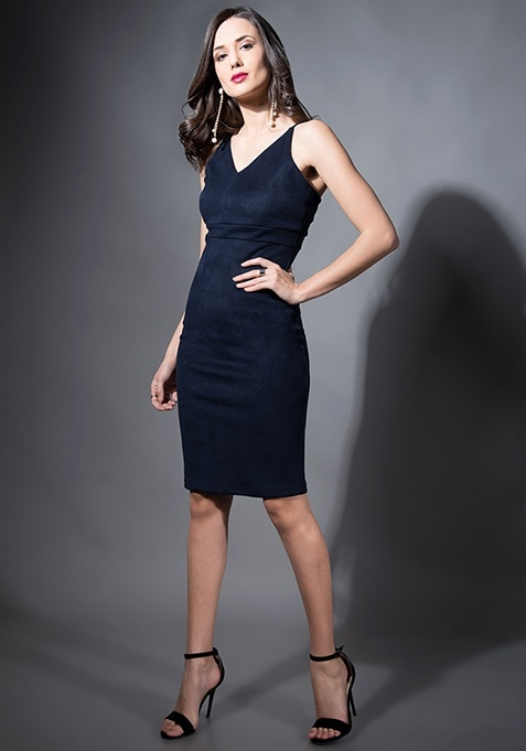 Navy Suede Bodycon Midi Dress